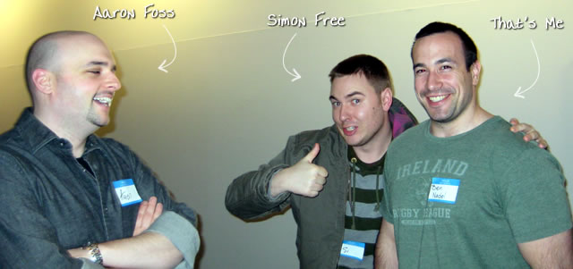 Ben Nadel at the New York ColdFusion User Group (Mar. 2009) with: Aaron Foss and Simon Free