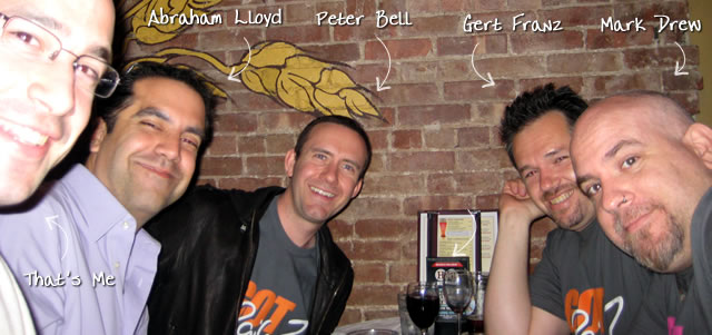 Ben Nadel at the New York ColdFusion User Group (May. 2009) with: Abraham Lloyd, Peter Bell, Gert Franz, and Mark Drew