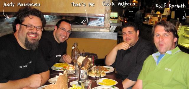 Ben Nadel at the New York ColdFusion User Group (Jun. 2010) with: Andy Matthews, Clark Valberg, and Ralf Korinth