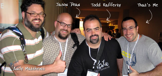 Ben Nadel at CFUNITED 2009 (Lansdowne, VA) with: Andy Matthews, Jason Dean, and Todd Rafferty