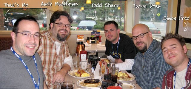 Ben Nadel at CFinNC 2009 (Raleigh, North Carolina) with: Andy Matthews, Todd Sharp, Jason Dean, and Simon Free