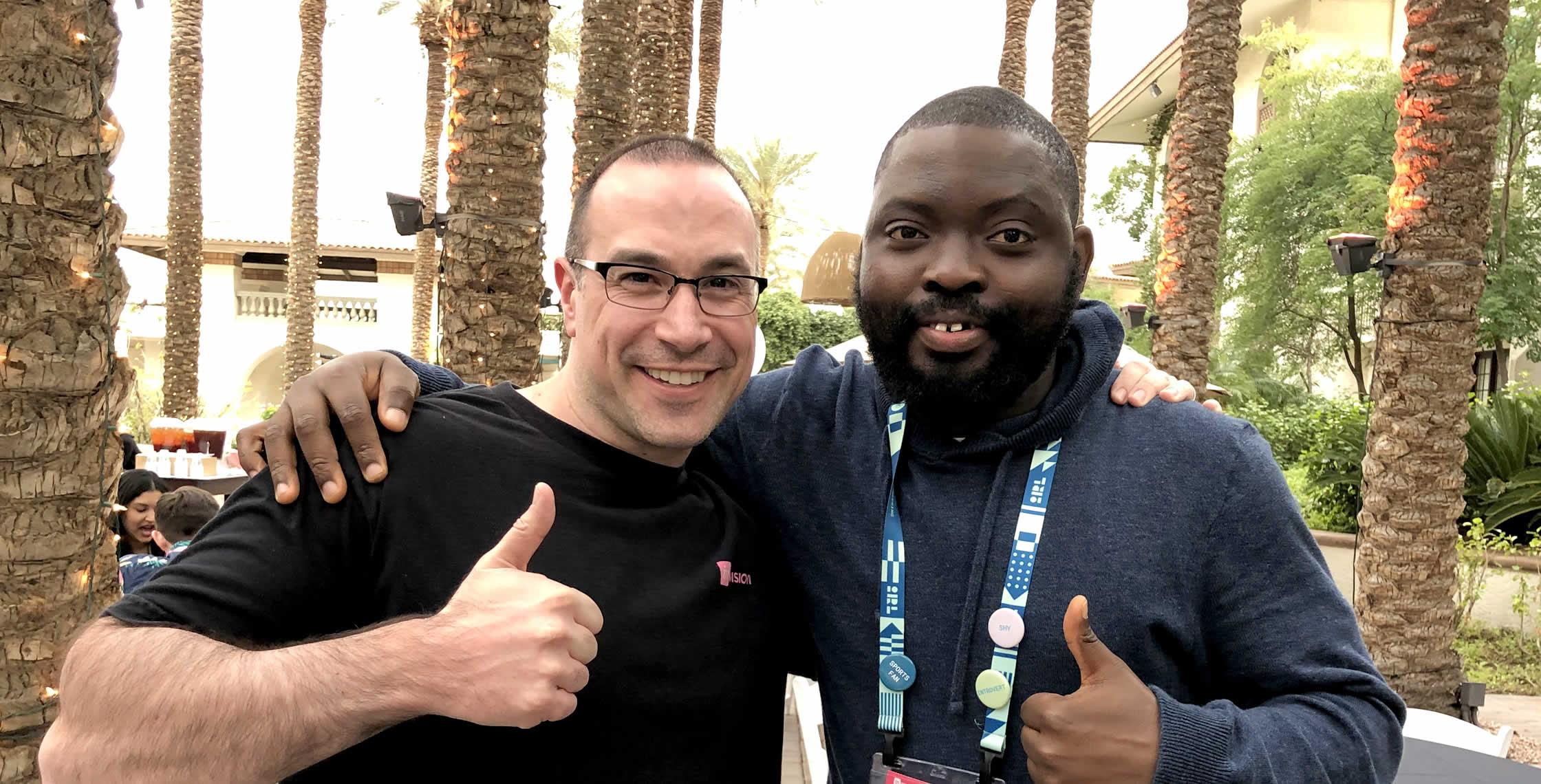 Ben Nadel at InVision In Real Life (IRL) 2019 (Phoenix, AZ) with: Azeez Olaniran