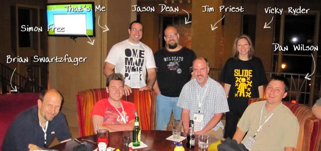 Ben Nadel at CFUNITED 2010 (Landsdown, VA) with: Brian Swartzfager, Simon Free, Jason Dean, Jim Priest, Vicky Ryder, and Dan Wilson