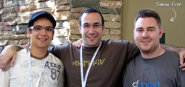 Ben Nadel at CFUNITED 2009 (Lansdowne, VA) with: Bruno Lopes and Simon Free