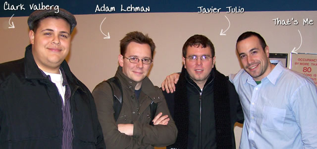 Ben Nadel at the New York ColdFusion User Group (Jan. 2008) with: Clark Valberg, Adam Lehman, and Javier Julio