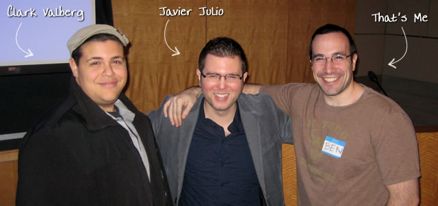 Ben Nadel at the New York ColdFusion User Group (Jan. 2010) with: Clark Valberg and Javier Julio