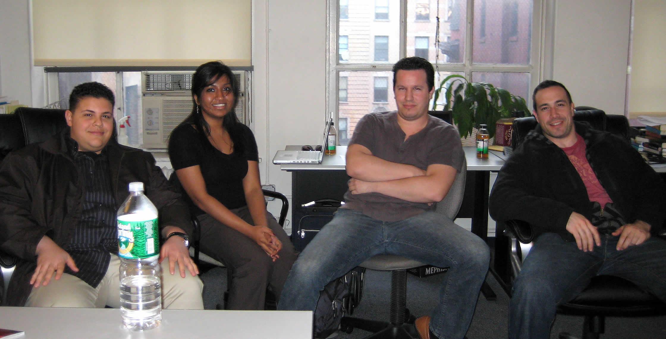 Ben Nadel at the New York ColdFusion User Group (Apr. 2008) with: Clark Valberg and Nafisa Sabu and Rob Gonda