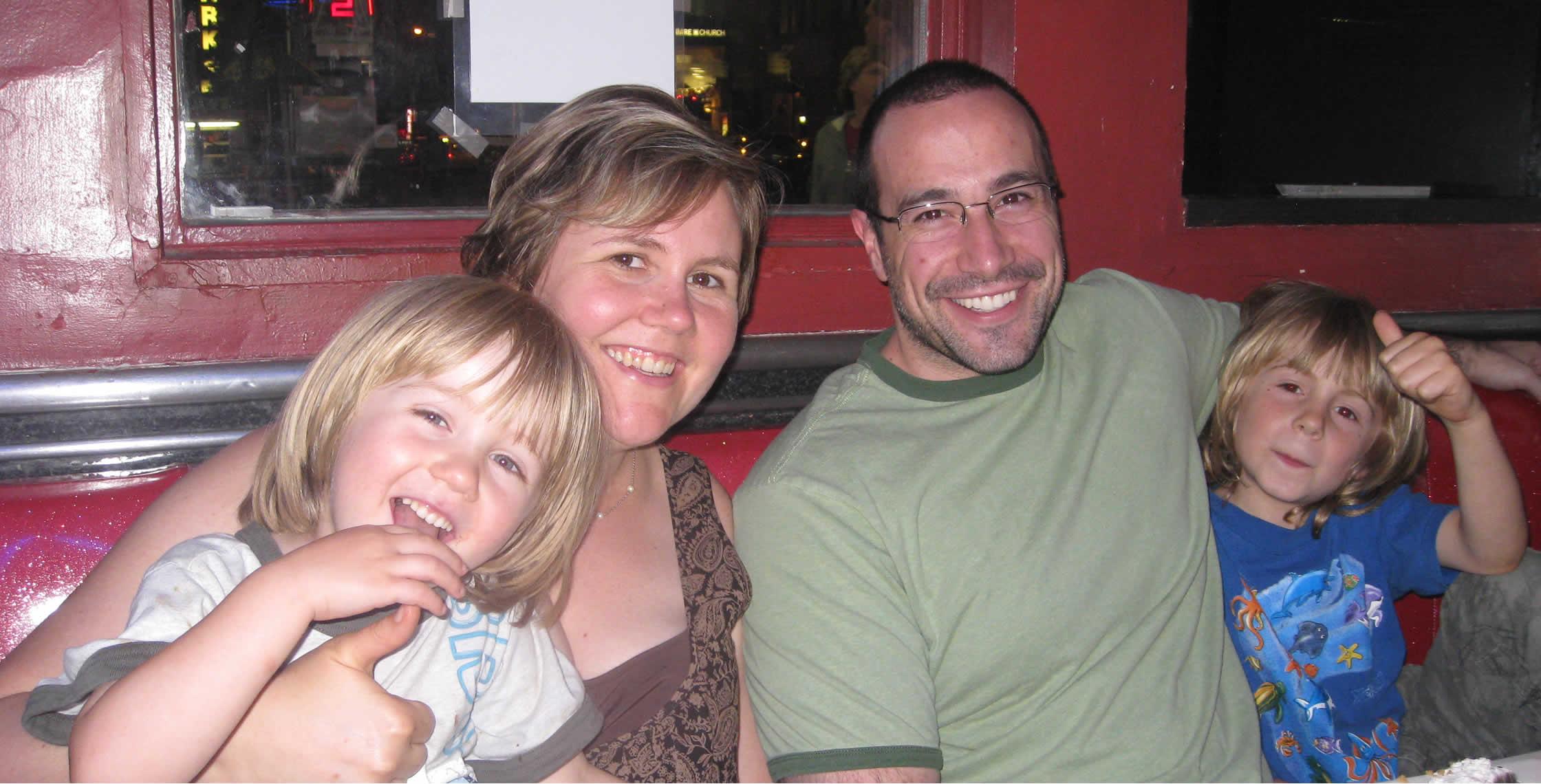Ben Nadel at Ellen's Stardust Diner (New York City) with: Colin Silverberg, Carol Loffelmann, and Daniel Silverberg
