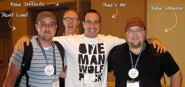Ben Nadel at CFUNITED 2010 (Landsdown, VA) with: David Lund, Ryan Jeffords, and Ryan Johnson