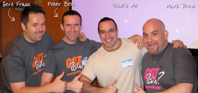 Ben Nadel at the New York ColdFusion User Group (May. 2009) with: Gert Franz, Peter Bell, and Mark Drew