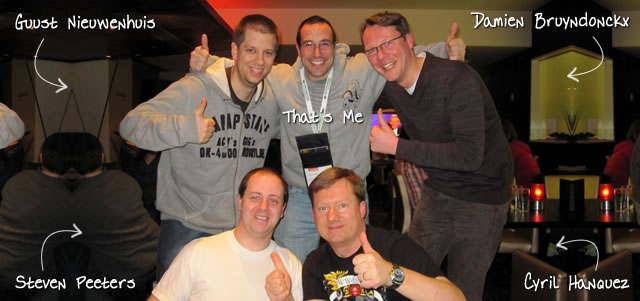 Ben Nadel at Scotch On The Rocks (SOTR) 2011 (Edinburgh) with: Guust Nieuwenhuis, Damien Bruyndonckx, Steven Peeters, and Cyril Hanquez