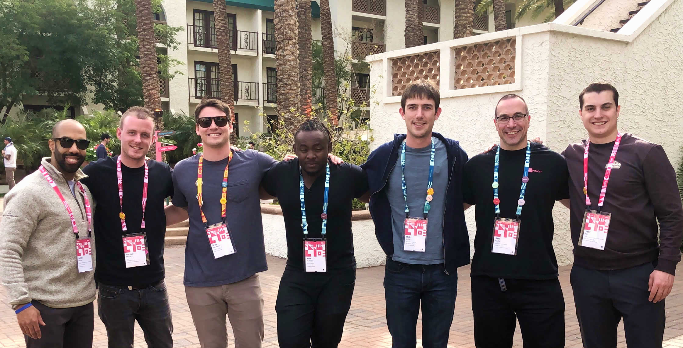 Ben Nadel at InVision In Real Life (IRL) 2019 (Phoenix, AZ) with: James Edward Murray, Connor Murphy, Drew Newberry, Alvin Mutisya, Nick Miller, and Jack Neil