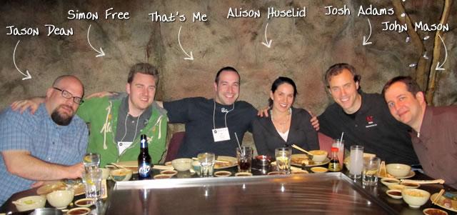 Ben Nadel at cf.Objective() 2010 (Minneapolis, MN) with: Jason Dean, Simon Free, Alison Huselid, Josh Adams, and John Mason
