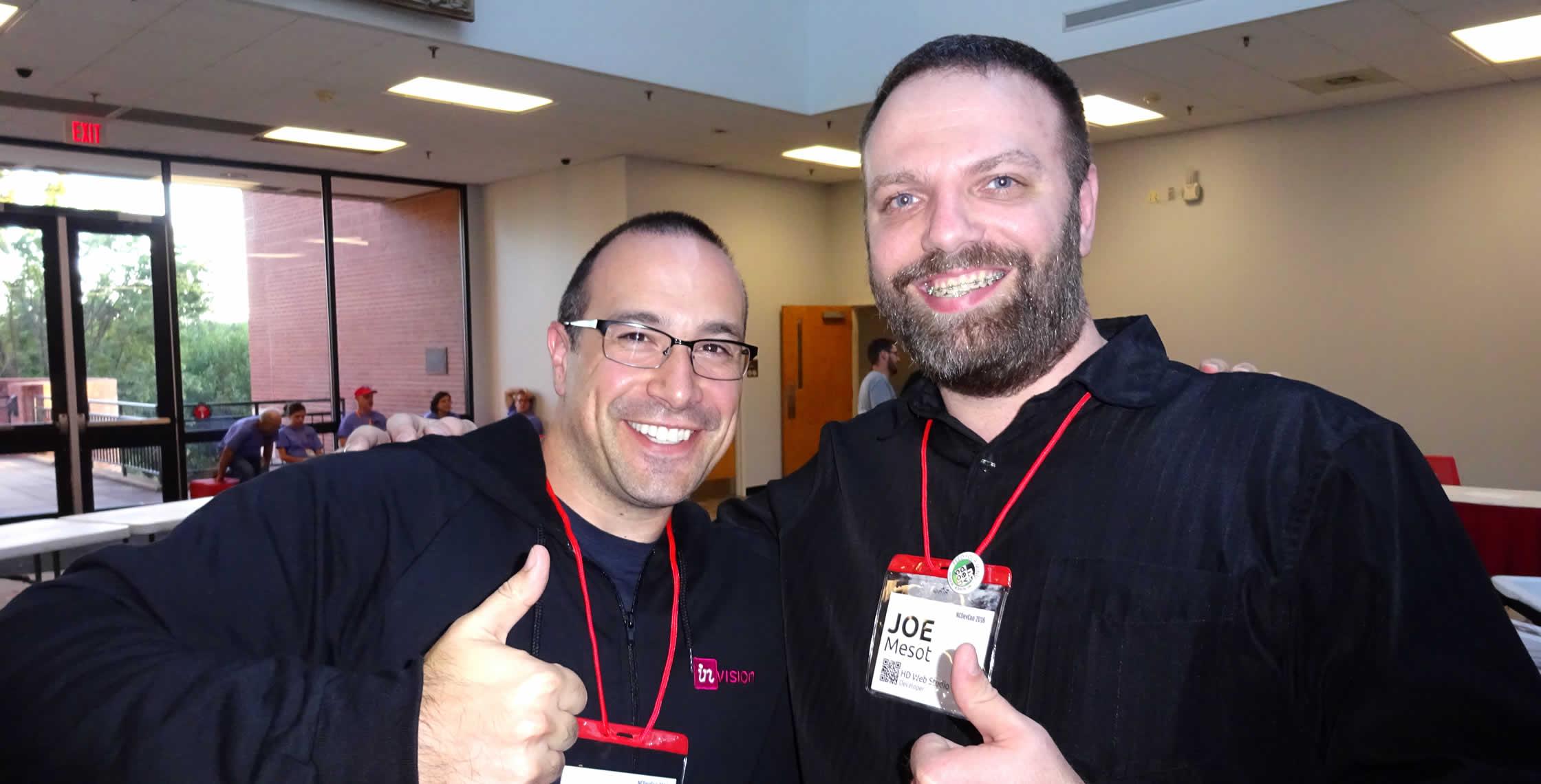 Ben Nadel at NCDevCon 2016 (Raleigh, NC) with: Joe Mesot