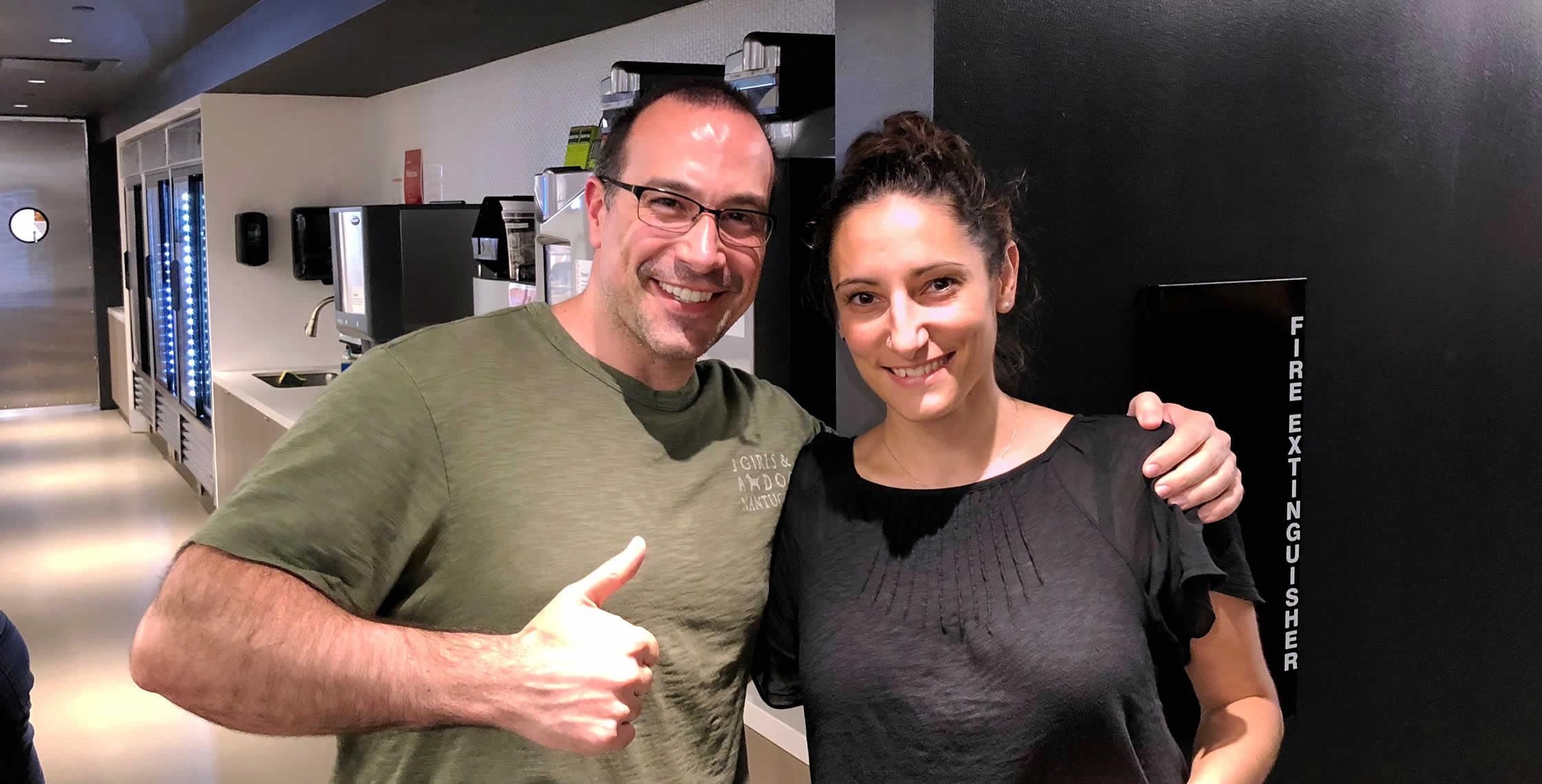 Ben Nadel at the NYC Node.js Meetup (Sep. 2018) with: Manon Metais