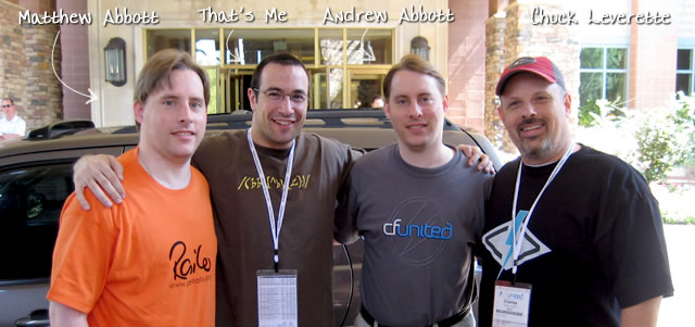Ben Nadel at CFUNITED 2009 (Lansdowne, VA) with: Matthew Abbott, Andrew Abbott, and Chuck Leverette