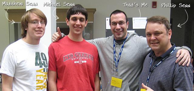 Ben Nadel at CFinNC 2009 (Raleigh, North Carolina) with: Matthew Senn, Michael Senn, and Phillip Senn