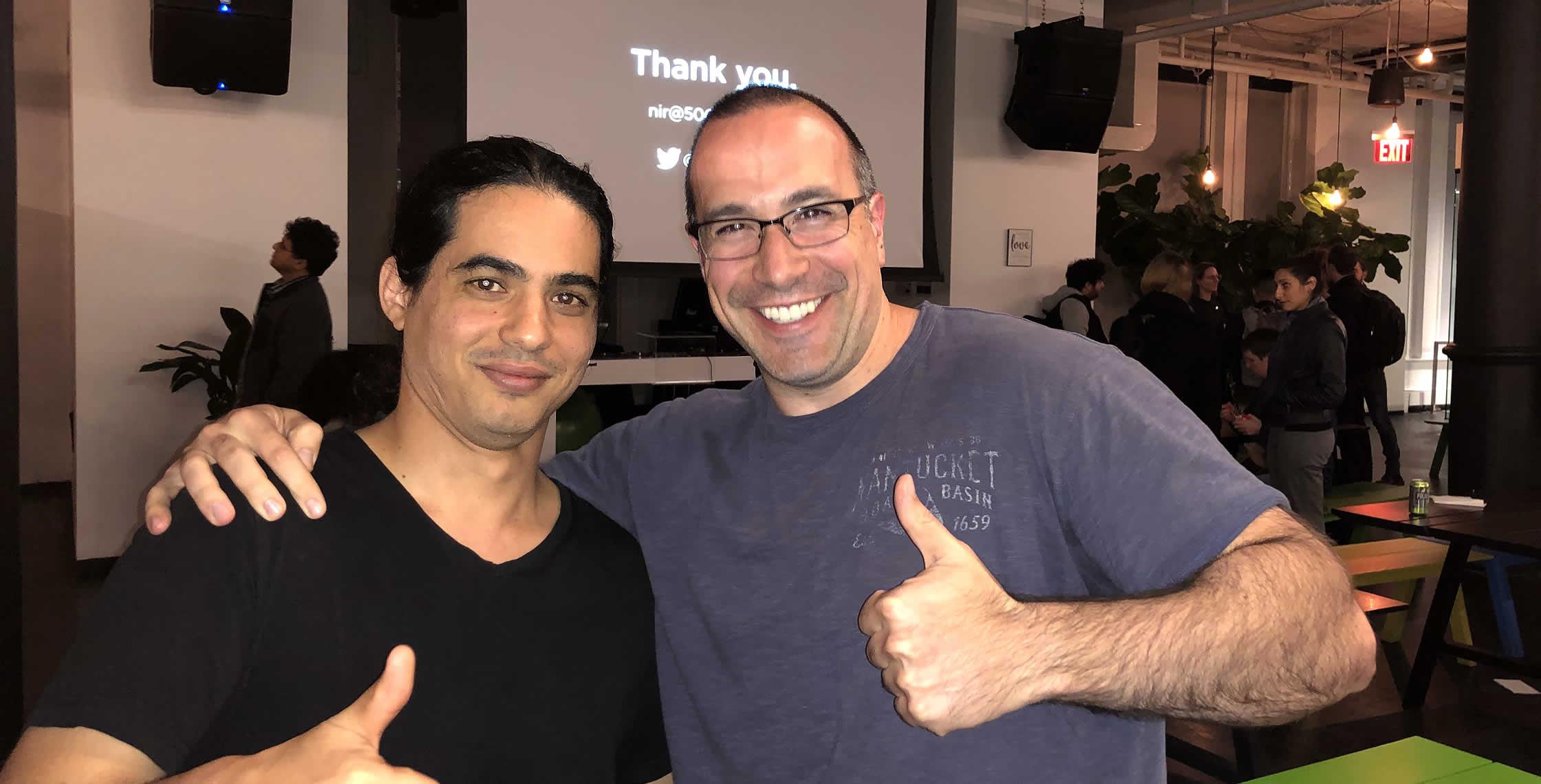 Ben Nadel at the React NYC Meetup (Oct. 2018) with: Nir Kaufman
