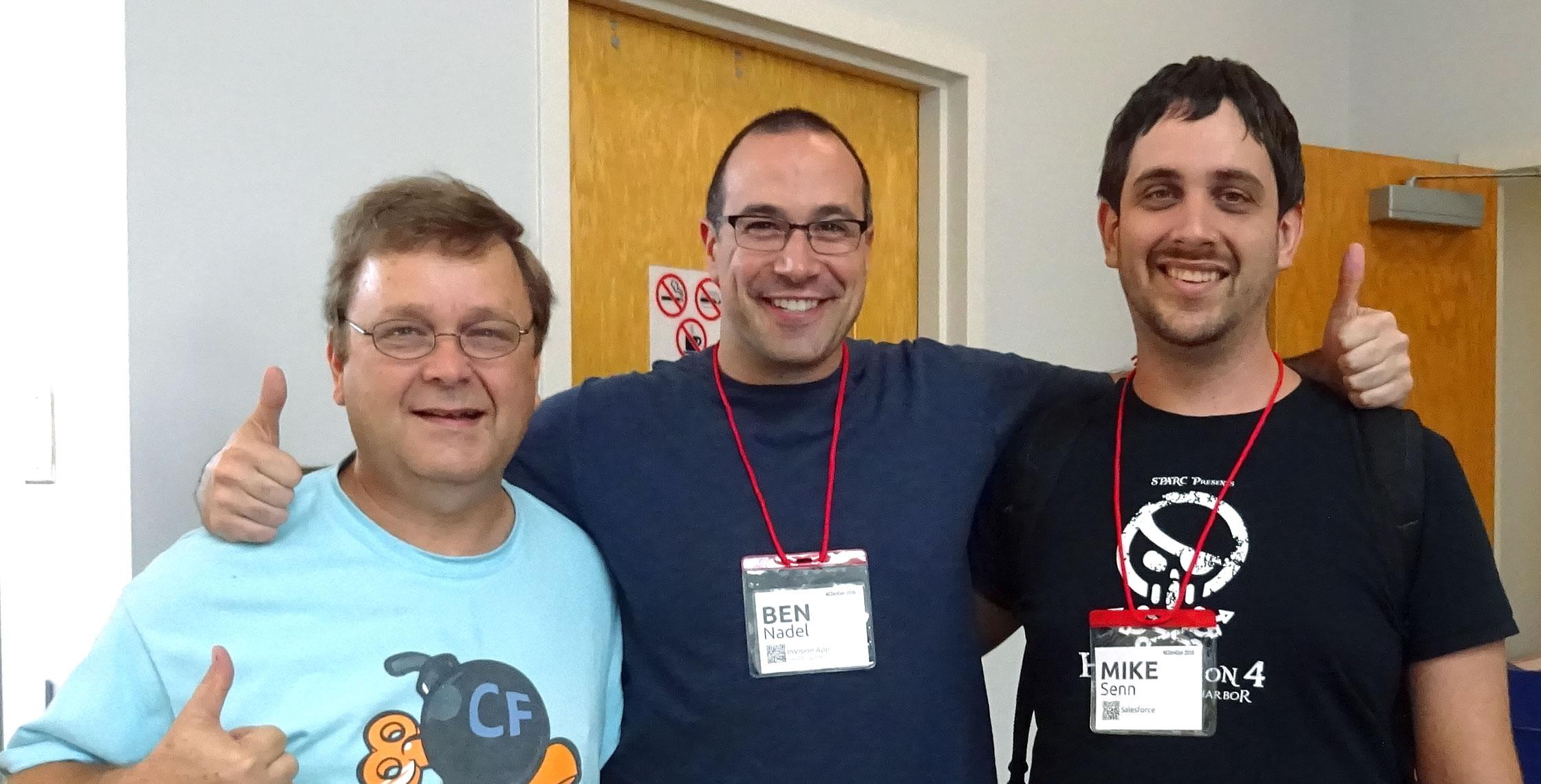 Ben Nadel at NCDevCon 2016 (Raleigh, NC) with: Phillip Senn and Michael Senn