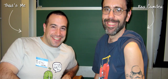 Ben Nadel at the New York ColdFusion User Group (Jan. 2009) with: Ray Camden
