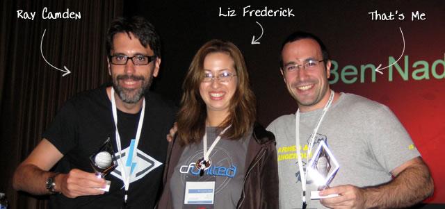 Ben Nadel at CFUNITED 2009 (Lansdowne, VA) with: Ray Camden and Liz Frederick