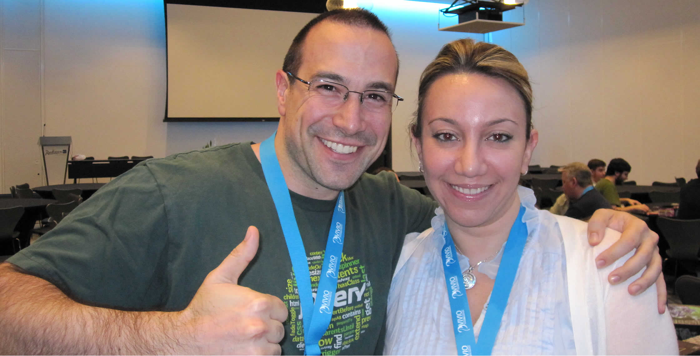 Ben Nadel at cf.Objective() 2013 (Bloomington, MN) with: Reem Jaghlit