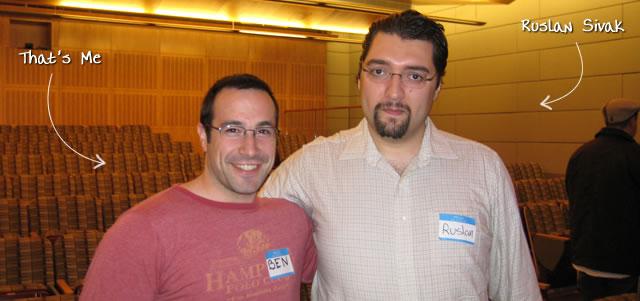 Ben Nadel at the New York ColdFusion User Group (Nov. 2009) with: Ruslan Sivak