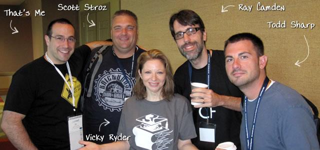 Ben Nadel at CFUNITED 2010 (Landsdown, VA) with: Scott Stroz, Vicky Ryder, Ray Camden, and Todd Sharp