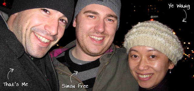 Ben Nadel at the Nylon Technology Christmas Party (Dec. 2008) with: Simon Free and Ye Wang