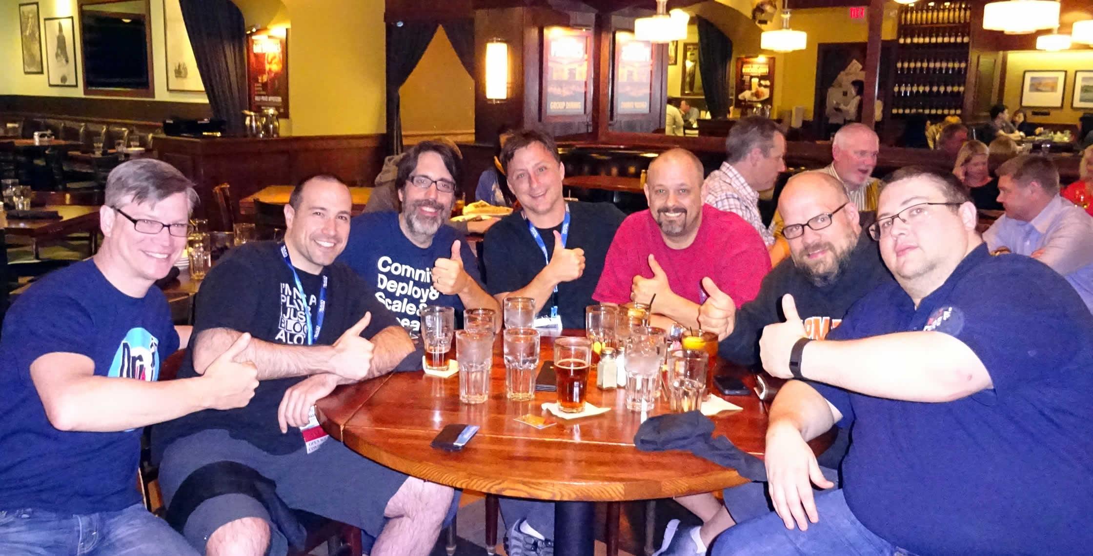 Ben Nadel at dev.Objective() 2015 (Bloomington, MN) with: Tim Cunningham, Ray Camden, Dan Wilson, Dave Ferguson, Jason Dean, and Kev McCabe