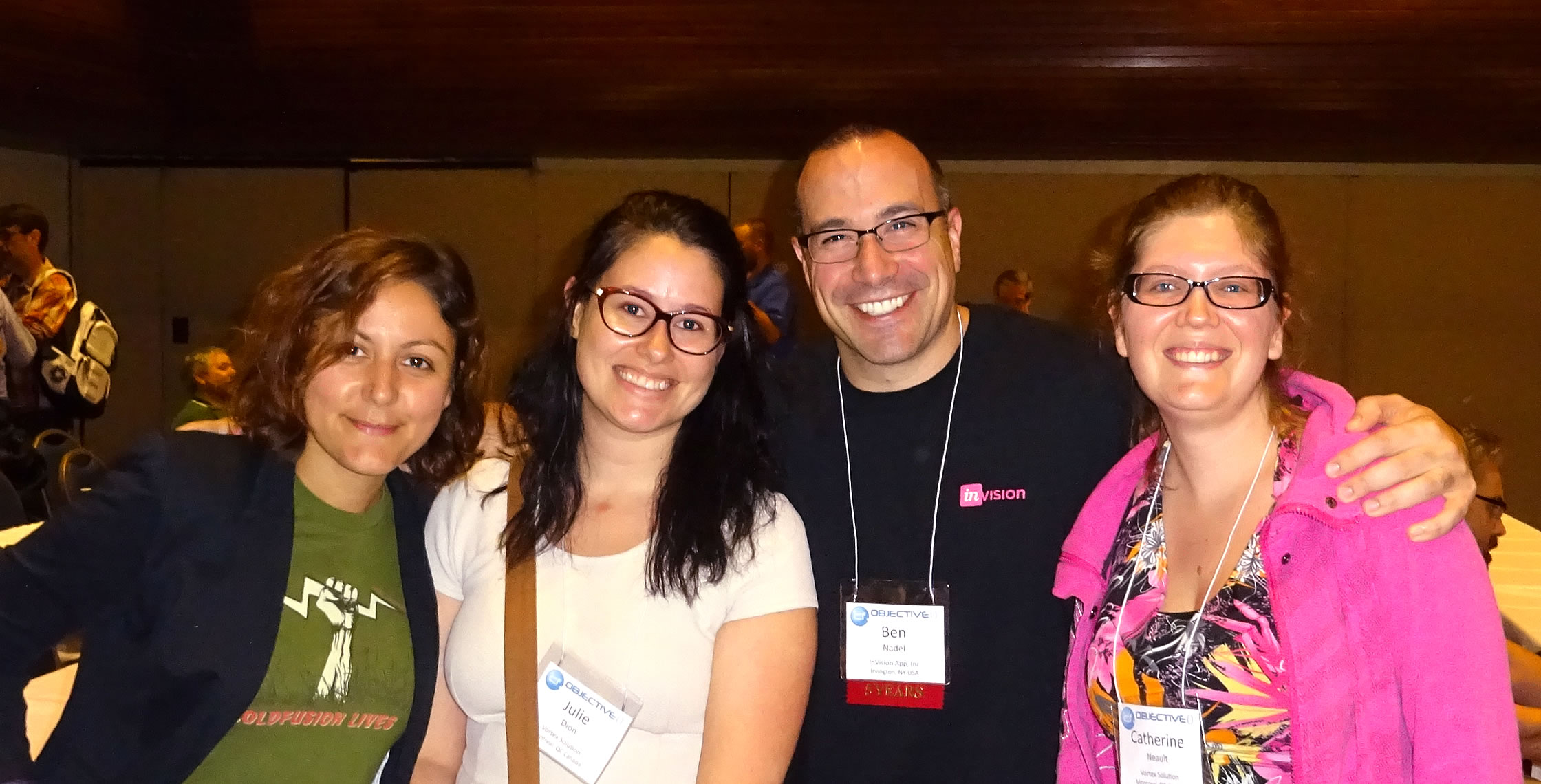 Ben Nadel at cf.Objective() 2017 (Washington, D.C.) with: Valerie Poreaux, Julie Dion, and Catherine Neault