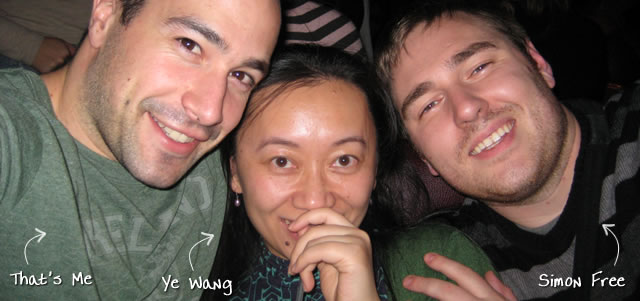 Ben Nadel at the Nylon Technology Christmas Party (Dec. 2008) with: Ye Wang and Simon Free
