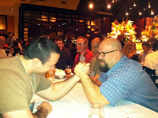 Jason Dean beat Ben Nadel in an arm wrestling match at cf.Objective() 2011.