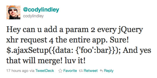 Cody Lindley On $.ajaxSetup().
