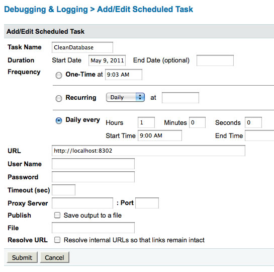 ColdFusion scheduled tasks allow for both a date range and a time range in their configuration.