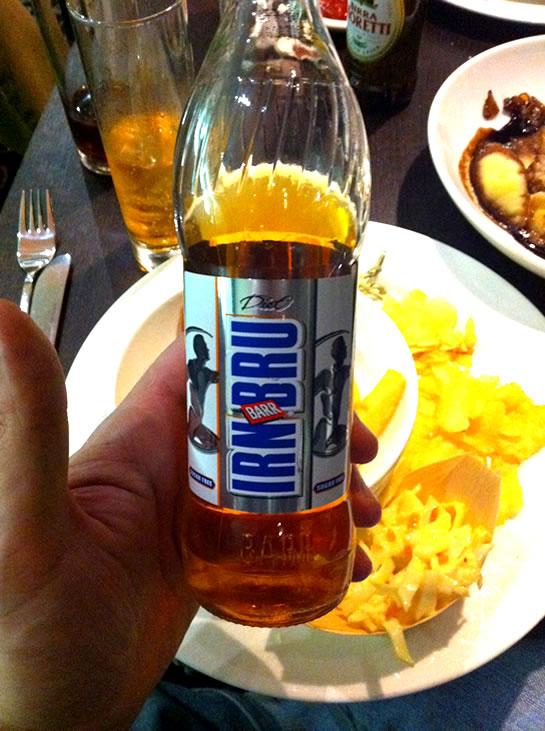 IrnBru - pronounced, urn-brew.