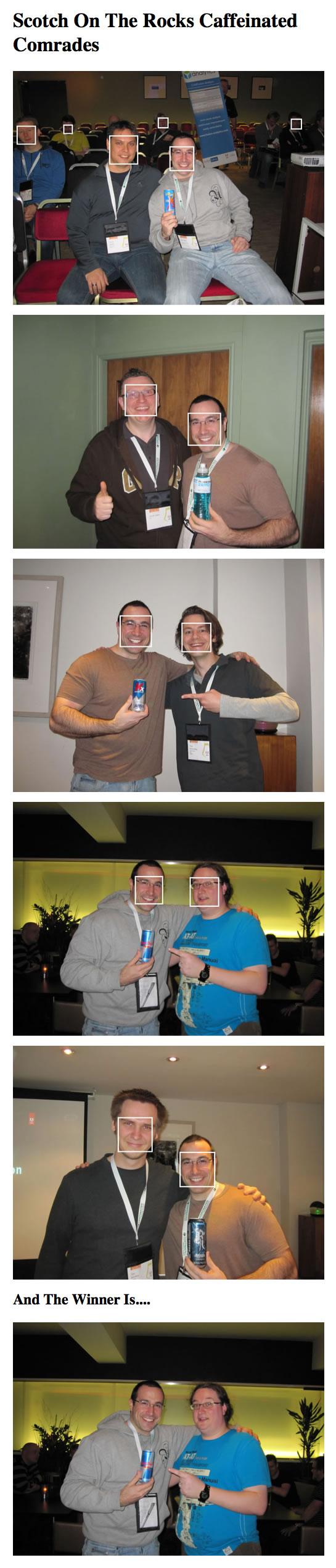 SOTR Caffeinated Comrades raffler winner selection using Face.com facial detection API.
