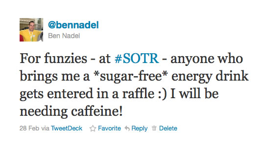 For funzies - at #SOTR - anyone who brings me a *sugar-free* energy drink gets entered in a raffle :) I will be needing caffeine!