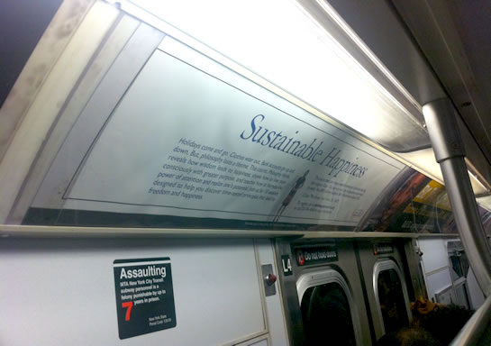 I saw the sustainable happiness poster on the way to philosophy class. I think this must be a good sign.