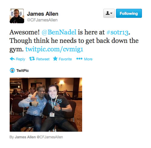 James Allen tweeting about #NotBen at SOTR 2013.