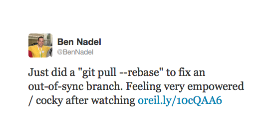 Ben Nadel tweets about a git pull --rebase command.
