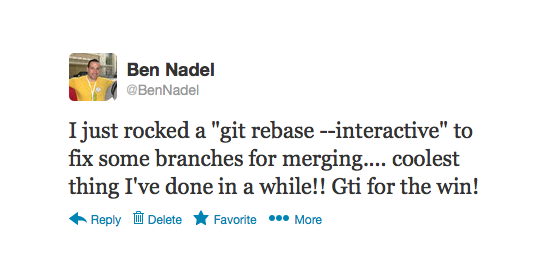Ben Nadel tweets about git rebase --interactive command.