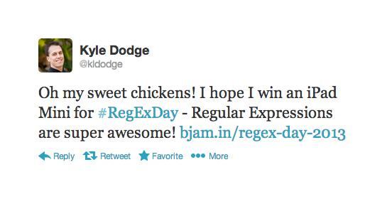 Regular expression winner - Kyle Dodge.