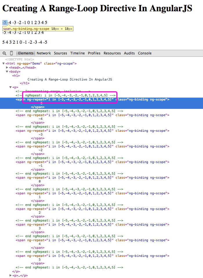Creating a range-loop directive in AngularJS by compiling down to a native ngRepeat directive.