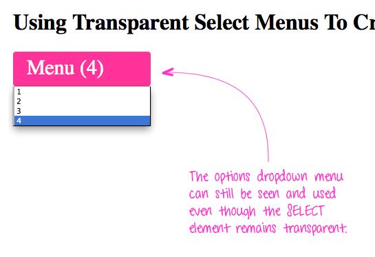Transparent select menu with visible options dropdown.