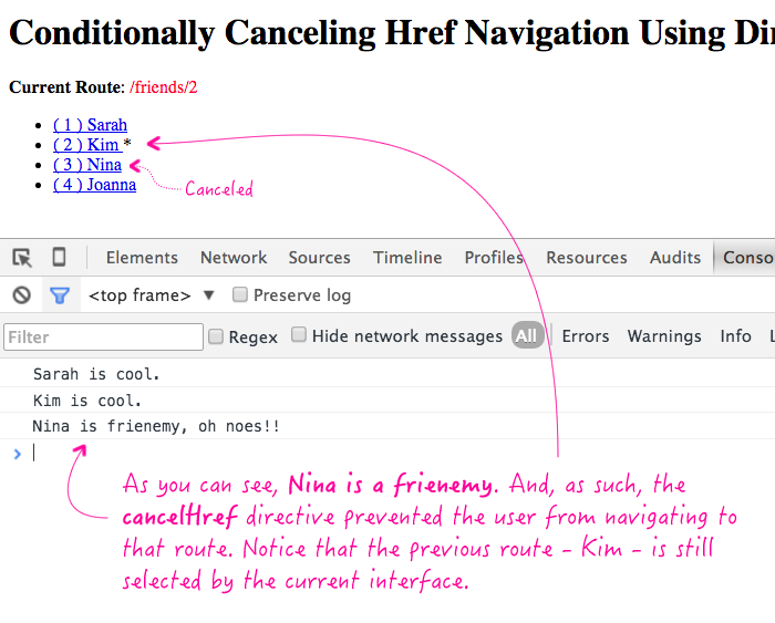 Conditionally canceling href navigation using directives in AngularJS.