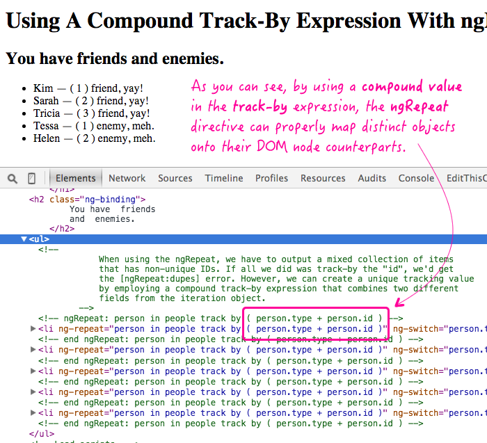 Using a compound track-by expression with ngRepat in an AngularJS application.