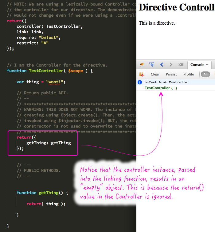 Directive controller cannot use the revealing module pattern in AngularJS.