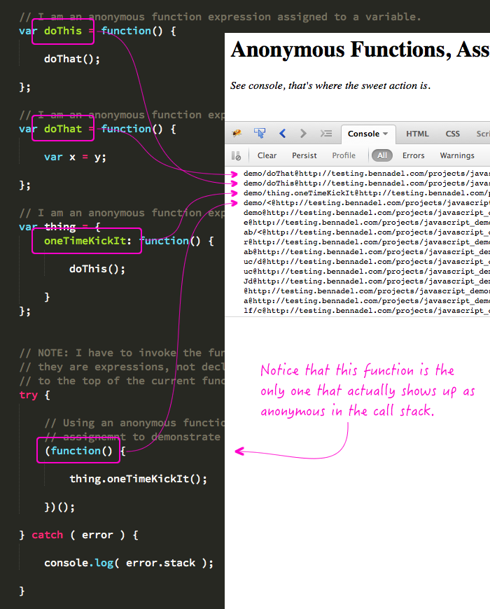 Function expressions, assigned to references, show up properly in JavaScript stack traces.