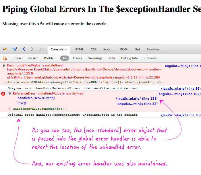 Piping global errors into the $exceptionHandler service in AngularJS.